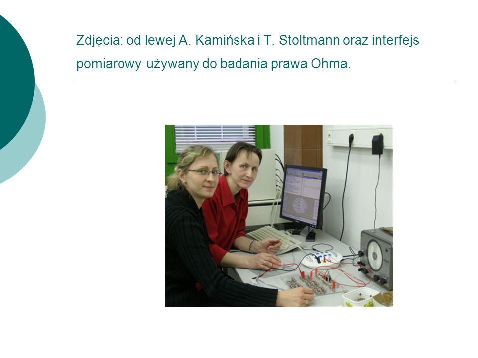 Zdjęcia: od lewej A. Kamińska i T. Stoltmann oraz interfejs pomiarowy używany do badania prawa Ohma.