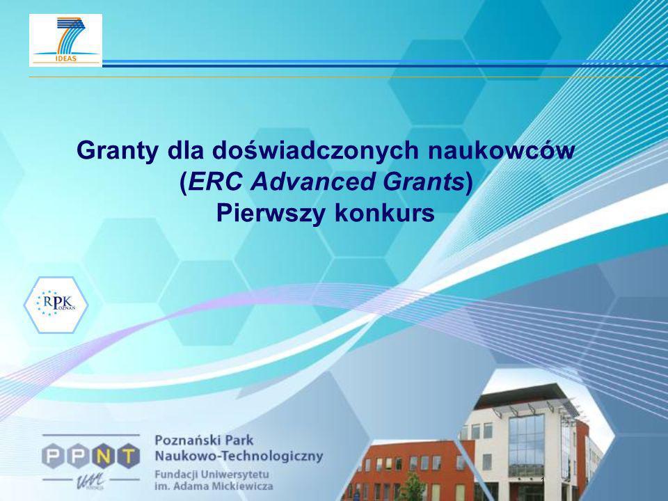 2 ERC-2008-AdG Budżet 1 go konkursu ca 517 mln euro Wielkość projektu: do 2,5 mln euro (wyjątkowo do 3,5 mln euro) Czas trwania projektu: do 5 lat Dofinansowanie:do 100% kosztów dopuszczalnych oraz 20% koszty pośrednie Wymóg formalny: brak - dowolny wiek i narodowość Nowośćw projektach interdyscyplinarnych możliwość wskazania współwykonawcy (co-investigator) ERC Advanced Grants