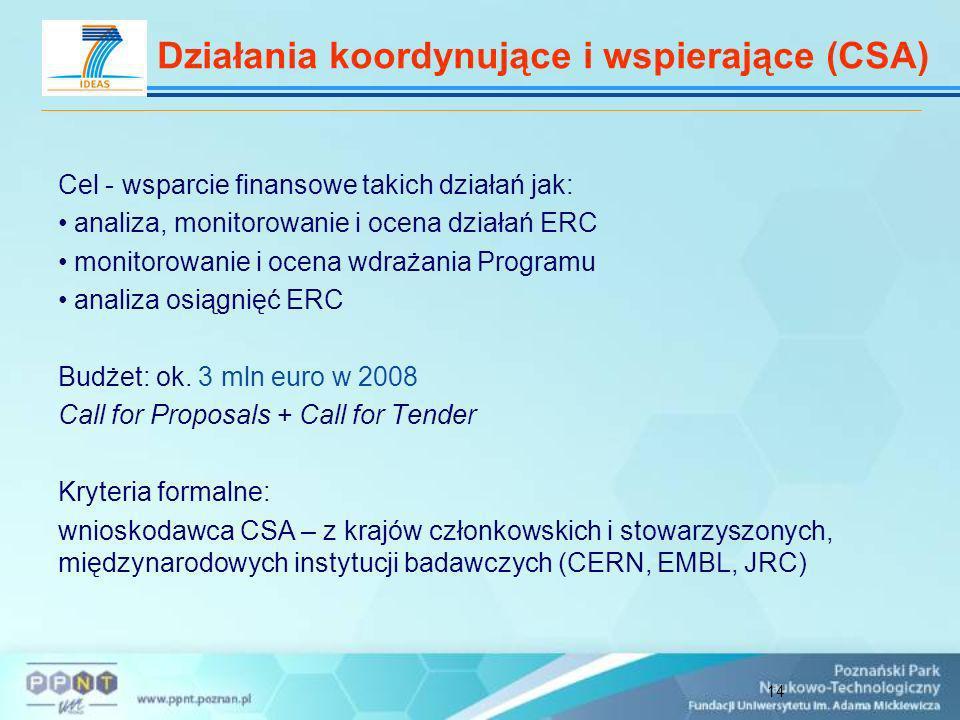 14 Cel - wsparcie finansowe takich działań jak: analiza, monitorowanie i ocena działań ERC monitorowanie i ocena wdrażania Programu analiza osiągnięć ERC Budżet: ok.