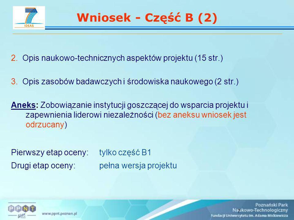 7 Wniosek - Część B (2) 2. Opis naukowo-technicznych aspektów projektu (15 str.) 3.