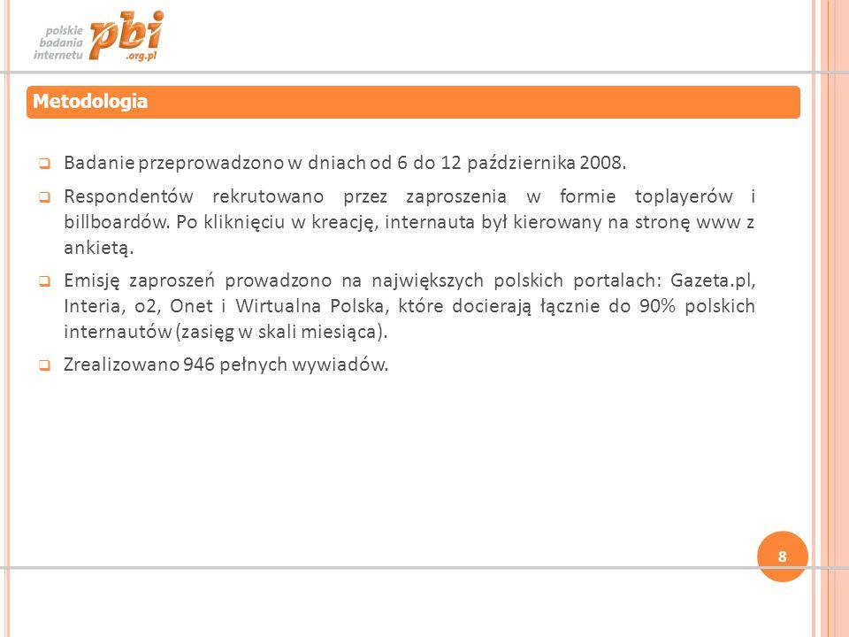 Badanie przeprowadzono w dniach od 6 do 12 października 2008. Respondentów rekrutowano przez zaproszenia w formie toplayerów i billboardów. Po kliknię