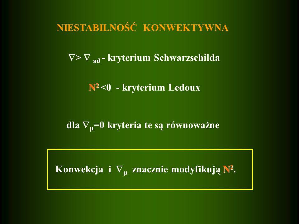 NIESTABILNOŚĆ KONWEKTYWNA > ad - kryterium Schwarzschilda N 2 N 2 <0 - kryterium Ledoux dla =0 kryteria te są równoważne N 2 Konwekcja i znacznie mody