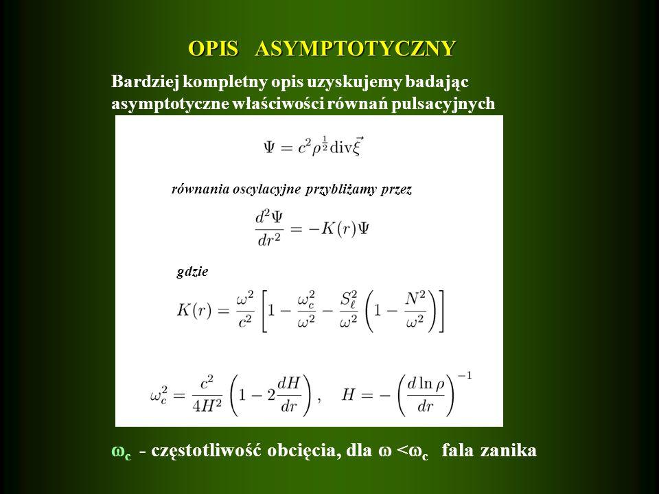 OPIS ASYMPTOTYCZNY Bardziej kompletny opis uzyskujemy badając asymptotyczne właściwości równań pulsacyjnych równania oscylacyjne przybliżamy przez gdz
