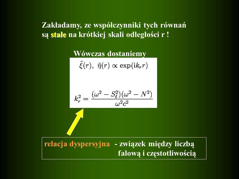 relacja dyspersyjna - związek między liczbą falową i częstotliwością gdzie Zakładamy, ze współczynniki tych równań stałe są stałe na krótkiej skali od