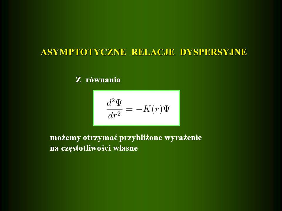 ASYMPTOTYCZNE RELACJE DYSPERSYJNE Z równania możemy otrzymać przybliżone wyrażenie na częstotliwości własne