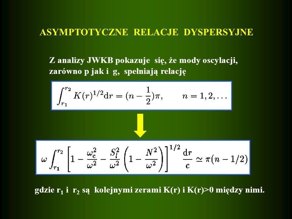 ASYMPTOTYCZNE RELACJE DYSPERSYJNE Z analizy JWKB pokazuje się, że mody oscylacji, zarówno p jak i g, spełniają relację gdzie r 1 i r 2 są kolejnymi ze