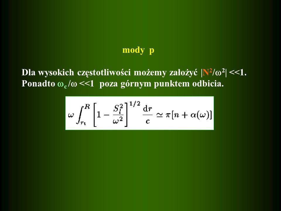 mody p Dla wysokich częstotliwości możemy założyć |N 2 / 2 | <<1. Ponadto c / <<1 poza górnym punktem odbicia.
