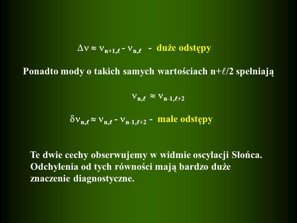 n+1, - n, - duże odstępy Ponadto mody o takich samych wartościach n+ /2 spełniają n, n-1, +2 n, n, - n-1, +2 - małe odstępy Te dwie cechy obserwujemy