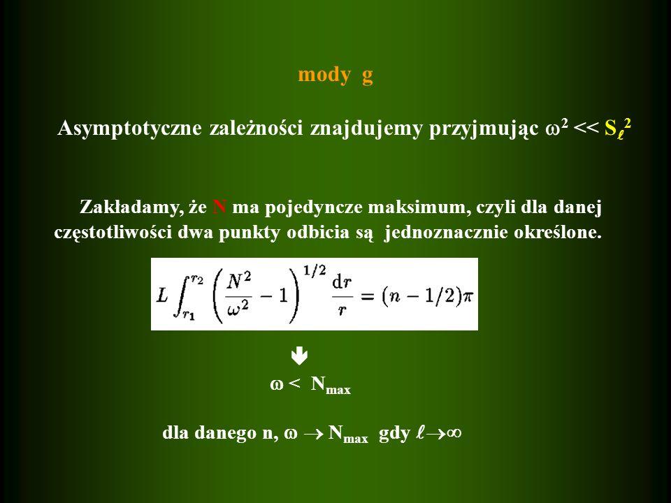 mody g Asymptotyczne zależności znajdujemy przyjmując 2 << S 2 Zakładamy, że N ma pojedyncze maksimum, czyli dla danej częstotliwości dwa punkty odbic