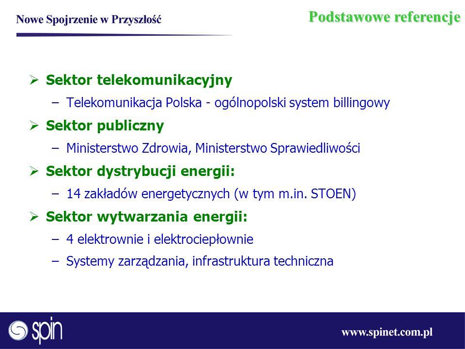 Podstawowe referencje Sektor telekomunikacyjny –Telekomunikacja Polska - ogólnopolski system billingowy Sektor publiczny –Ministerstwo Zdrowia, Minist