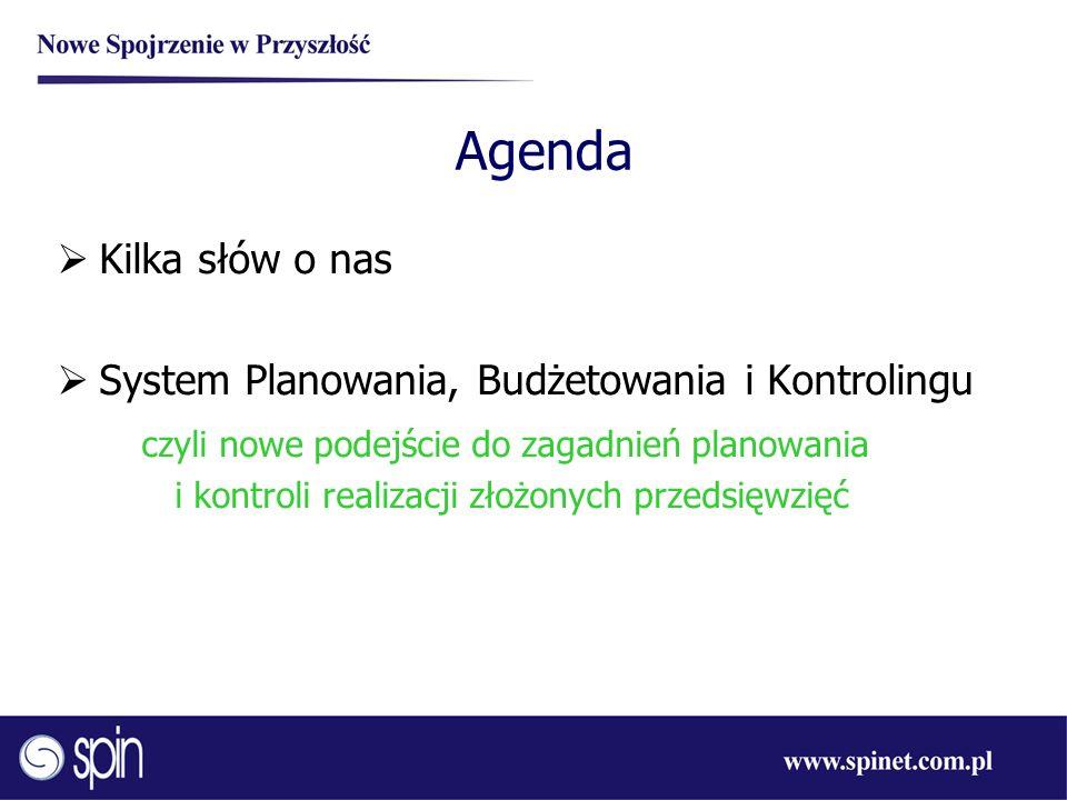 Agenda Kilka słów o nas System Planowania, Budżetowania i Kontrolingu czyli nowe podejście do zagadnień planowania i kontroli realizacji złożonych prz