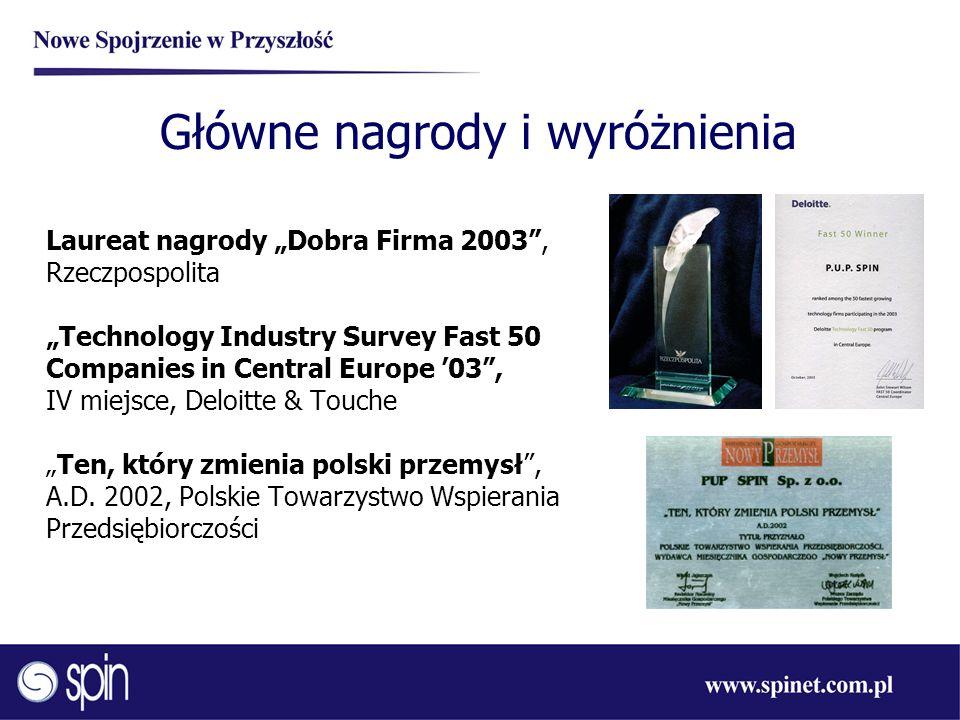 Główne nagrody i wyróżnienia Laureat nagrody Dobra Firma 2003, Rzeczpospolita Technology Industry Survey Fast 50 Companies in Central Europe 03, IV mi