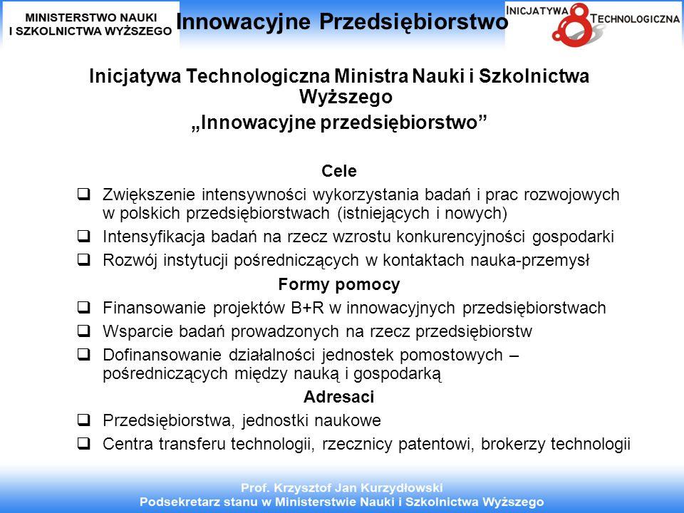 Innowacyjne Przedsiębiorstwo Inicjatywa Technologiczna Ministra Nauki i Szkolnictwa Wyższego Innowacyjne przedsiębiorstwo Cele Zwiększenie intensywności wykorzystania badań i prac rozwojowych w polskich przedsiębiorstwach (istniejących i nowych) Intensyfikacja badań na rzecz wzrostu konkurencyjności gospodarki Rozwój instytucji pośredniczących w kontaktach nauka-przemysł Formy pomocy Finansowanie projektów B+R w innowacyjnych przedsiębiorstwach Wsparcie badań prowadzonych na rzecz przedsiębiorstw Dofinansowanie działalności jednostek pomostowych – pośredniczących między nauką i gospodarką Adresaci Przedsiębiorstwa, jednostki naukowe Centra transferu technologii, rzecznicy patentowi, brokerzy technologii