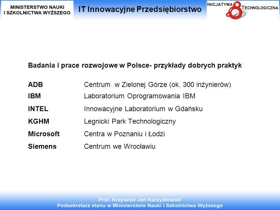 IT Innowacyjne Przedsiębiorstwo Badania i prace rozwojowe w Polsce- przykłady dobrych praktyk ADB Centrum w Zielonej Górze (ok. 300 inżynierów) IBM La