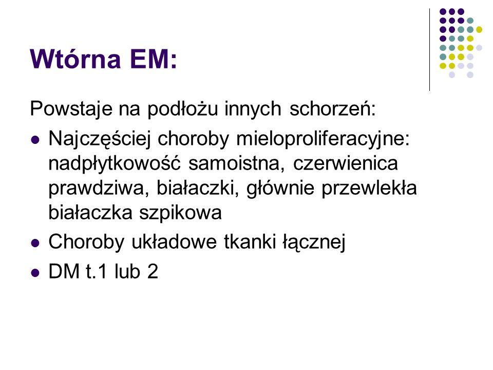 Wtórna EM: Powstaje na podłożu innych schorzeń: Najczęściej choroby mieloproliferacyjne: nadpłytkowość samoistna, czerwienica prawdziwa, białaczki, głównie przewlekła białaczka szpikowa Choroby układowe tkanki łącznej DM t.1 lub 2