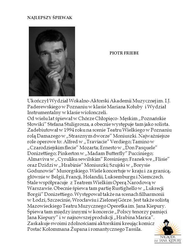 NAJLEPSZA ŚPIEWACZKA ALEKSANDRA KUBAS Bardzo utalentowana solistka Opery Wrocławskiej.