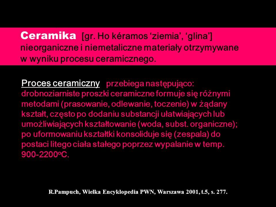Ceramika [gr. Ho kéramos ziemia, glina] nieorganiczne i niemetaliczne materiały otrzymywane w wyniku procesu ceramicznego. Proces ceramiczny przebiega