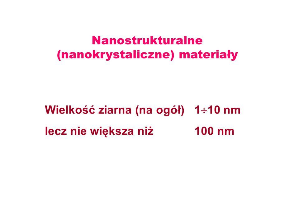 Nanostrukturalne (nanokrystaliczne) materiały Wielkość ziarna (na ogół)1 10 nm lecz nie większa niż100 nm