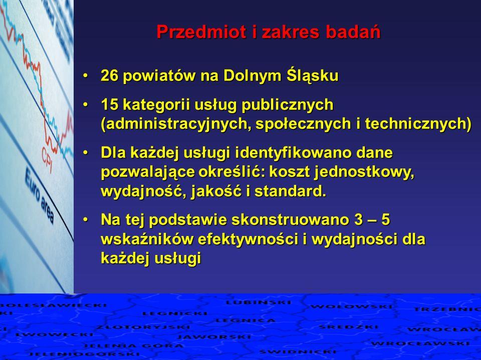 26 powiatów na Dolnym Śląsku26 powiatów na Dolnym Śląsku 15 kategorii usług publicznych (administracyjnych, społecznych i technicznych)15 kategorii us
