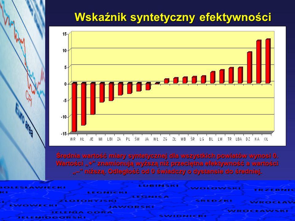 Wskaźnik syntetyczny efektywności Wskaźnik syntetyczny efektywności Średnia wartość miary syntetycznej dla wszystkich powiatów wynosi 0. Wartości + zn