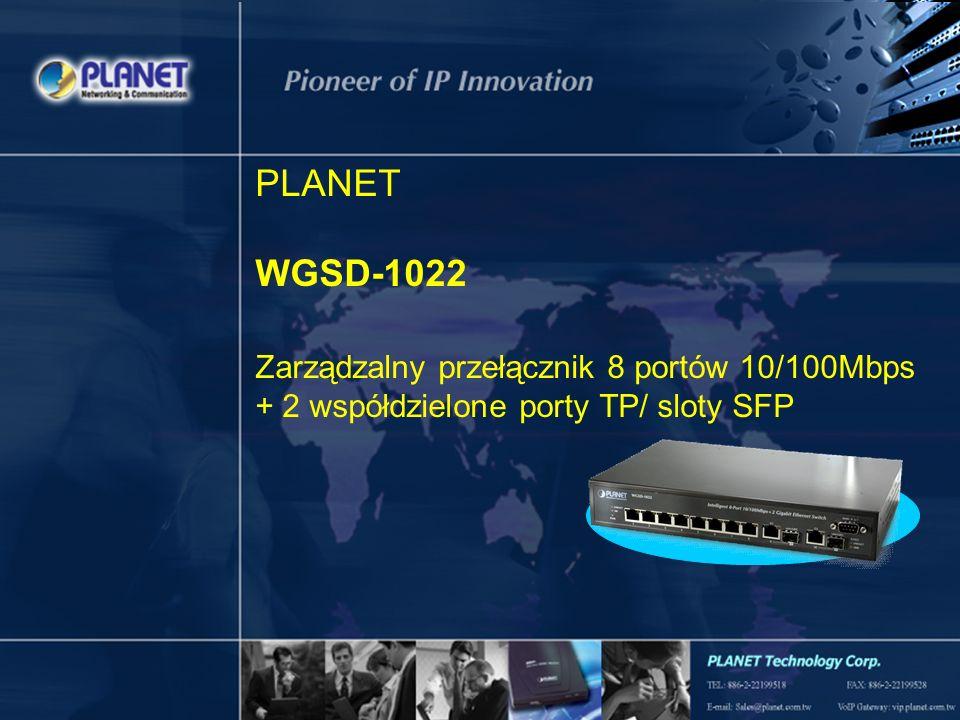 1 / 19 PLANET WGSD-1022 Zarządzalny przełącznik 8 portów 10/100Mbps + 2 współdzielone porty TP/ sloty SFP