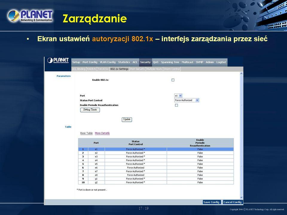 17 / 19 Zarządzanie Ekran ustawień autoryzacji 802.1x – interfejs zarządzania przez sieć