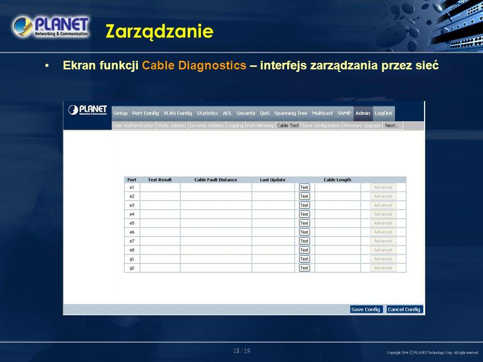 18 / 19 Zarządzanie Ekran funkcji Cable Diagnostics – interfejs zarządzania przez sieć