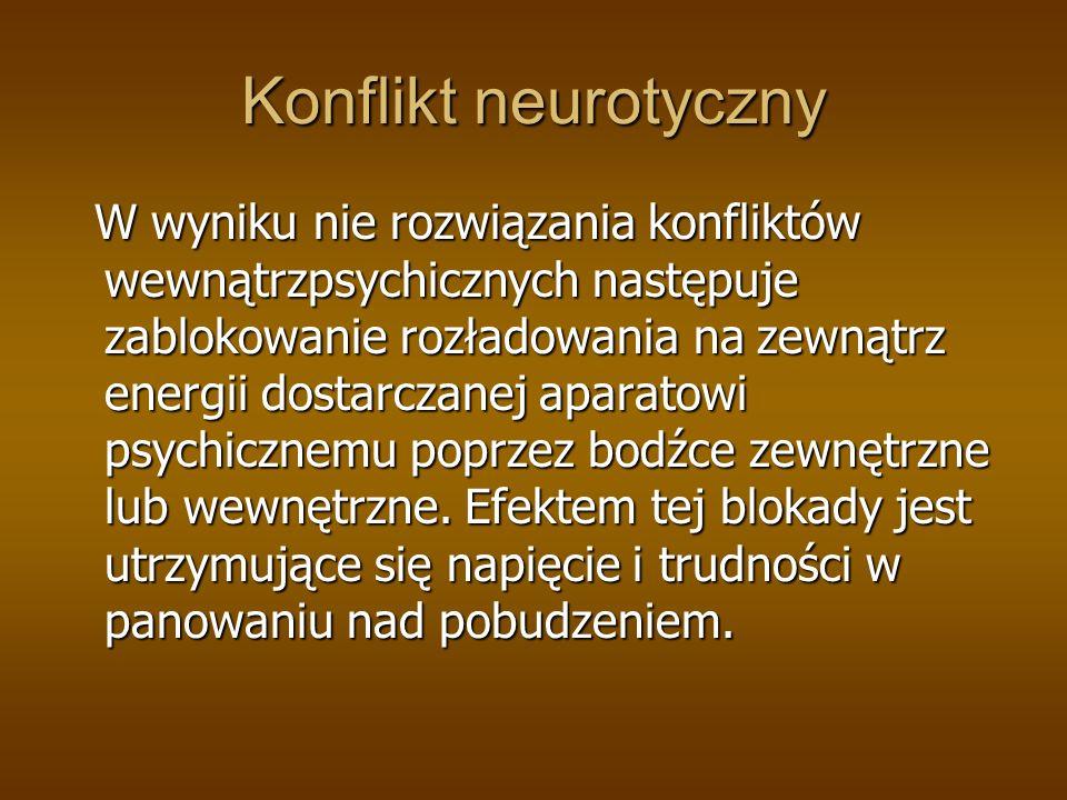 Konflikt neurotyczny W wyniku nie rozwiązania konfliktów wewnątrzpsychicznych następuje zablokowanie rozładowania na zewnątrz energii dostarczanej apa