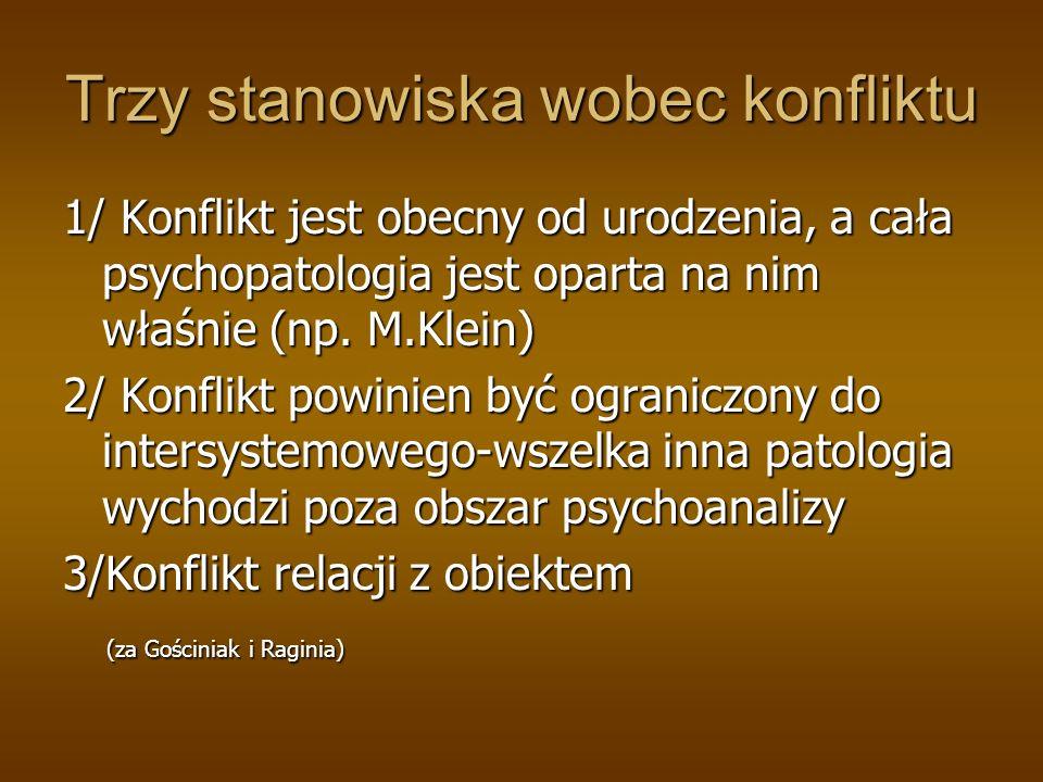 Trzy stanowiska wobec konfliktu 1/ Konflikt jest obecny od urodzenia, a cała psychopatologia jest oparta na nim właśnie (np. M.Klein) 2/ Konflikt powi
