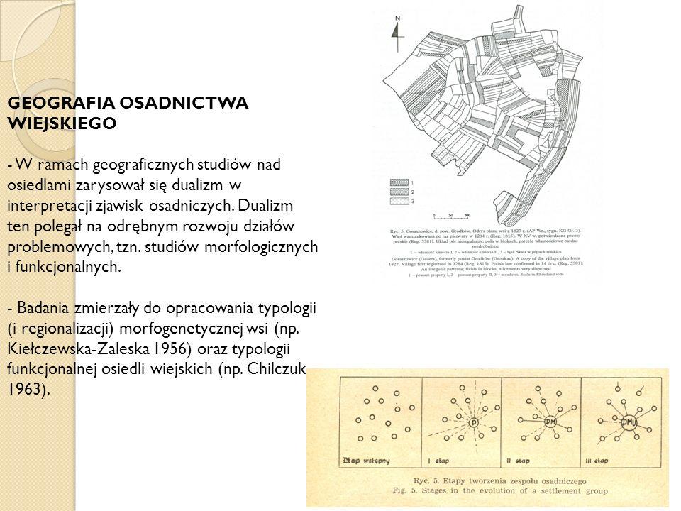 GEOGRAFIA OSADNICTWA WIEJSKIEGO - W ramach geograficznych studiów nad osiedlami zarysował się dualizm w interpretacji zjawisk osadniczych. Dualizm ten