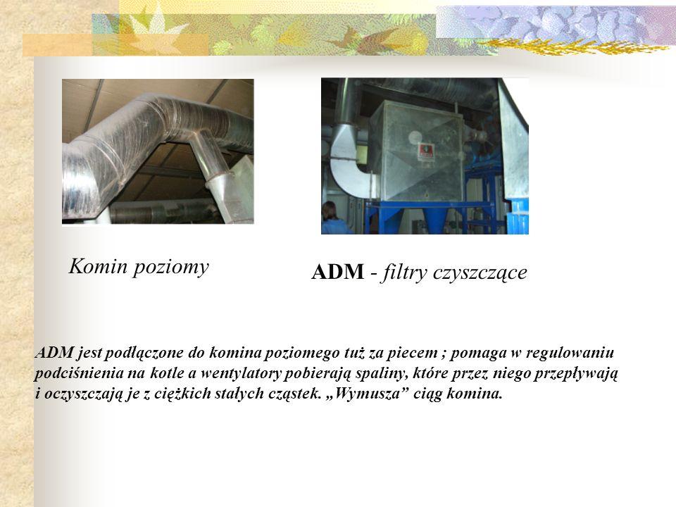 ADM - filtry czyszczące ADM jest podłączone do komina poziomego tuż za piecem ; pomaga w regulowaniu podciśnienia na kotle a wentylatory pobierają spa