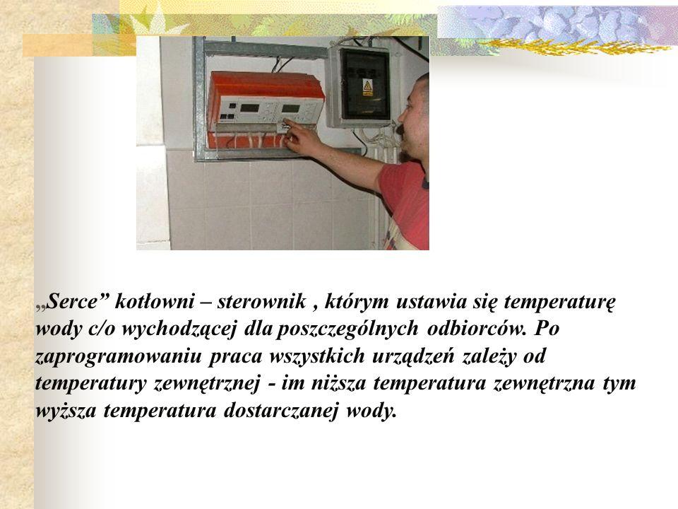 Serce kotłowni – sterownik, którym ustawia się temperaturę wody c/o wychodzącej dla poszczególnych odbiorców. Po zaprogramowaniu praca wszystkich urzą