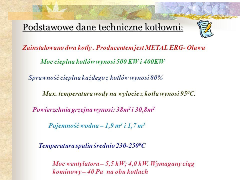 Podstawowe dane techniczne kotłowni : Moc cieplna kotłów wynosi 500 KW i 400KW Zainstalowano dwa kotły. Producentem jest METAL ERG- Oława Sprawność ci