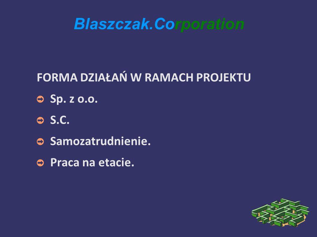 Blaszczak.Corporation FORMA DZIAŁAŃ W RAMACH PROJEKTU Sp.