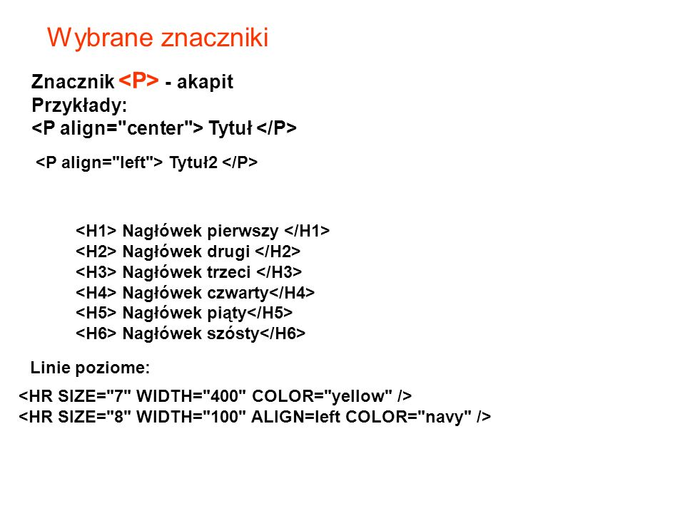 Wybrane znaczniki Znacznik - akapit Przykłady: Tytuł Tytuł2 Nagłówek pierwszy Nagłówek drugi Nagłówek trzeci Nagłówek czwarty Nagłówek piąty Nagłówek szósty Linie poziome: