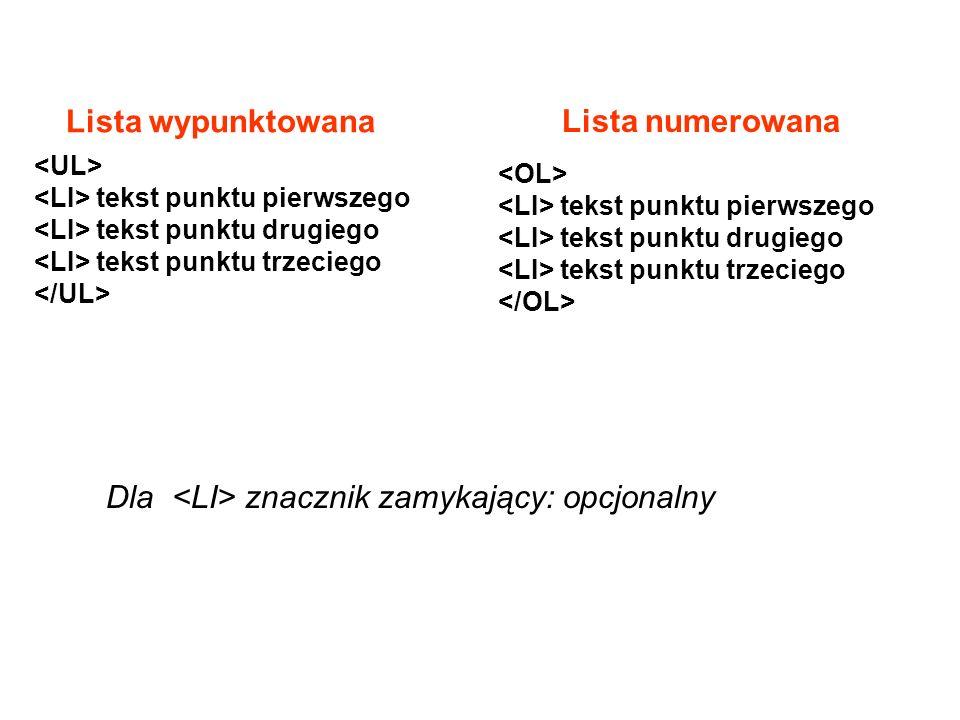 Dla znacznik zamykający: opcjonalny tekst punktu pierwszego tekst punktu drugiego tekst punktu trzeciego Lista wypunktowana Lista numerowana tekst pun
