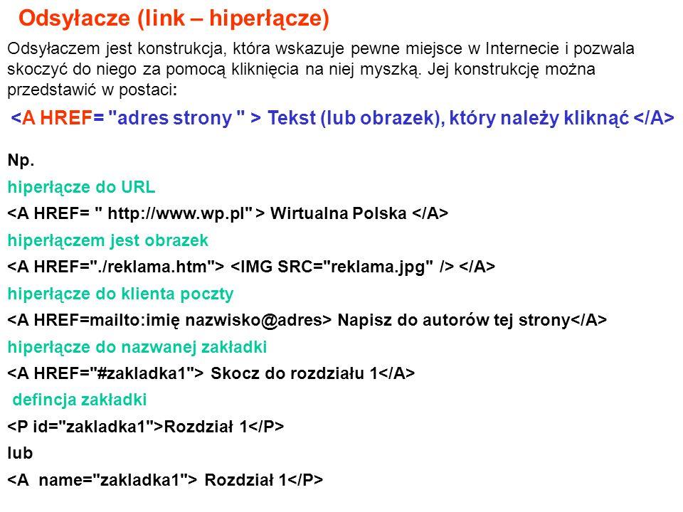 Odsyłacze (link – hiperłącze) Np. hiperłącze do URL Wirtualna Polska hiperłączem jest obrazek hiperłącze do klienta poczty Napisz do autorów tej stron