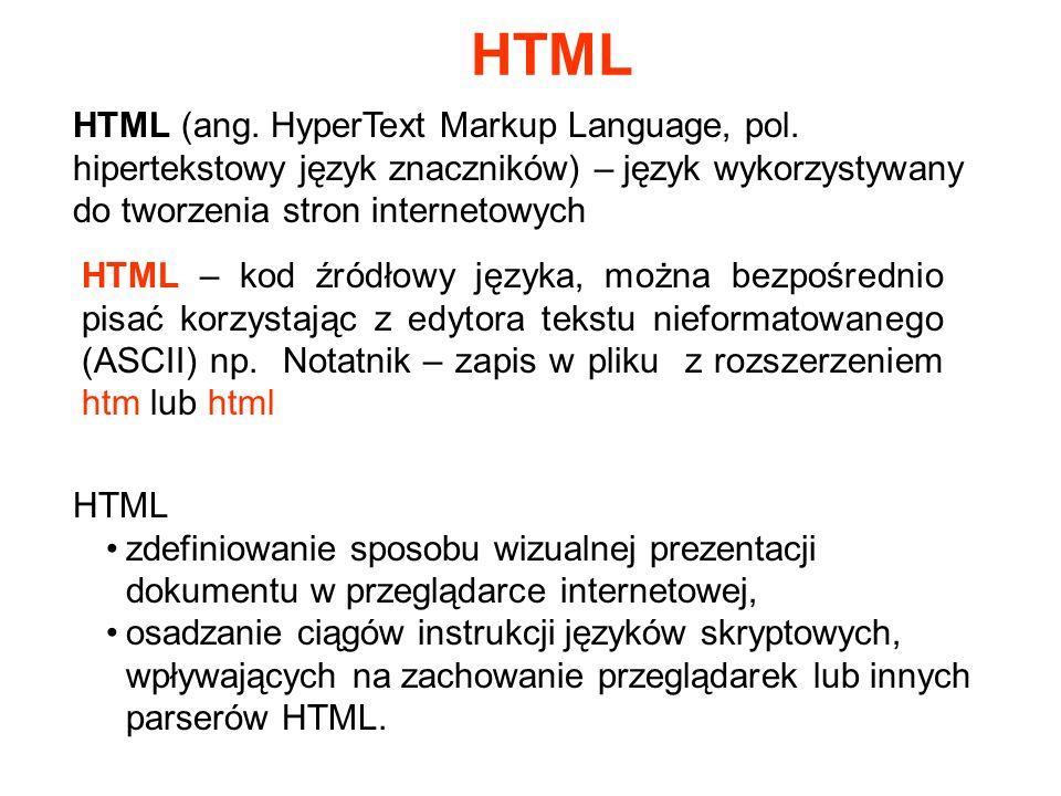 HTML (ang. HyperText Markup Language, pol. hipertekstowy język znaczników) – język wykorzystywany do tworzenia stron internetowych HTML – kod źródłowy