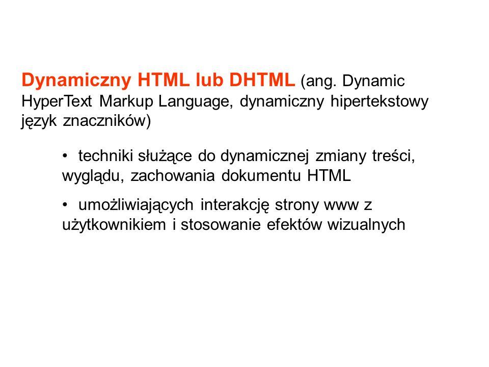 Dynamiczny HTML lub DHTML (ang. Dynamic HyperText Markup Language, dynamiczny hipertekstowy język znaczników) techniki służące do dynamicznej zmiany t