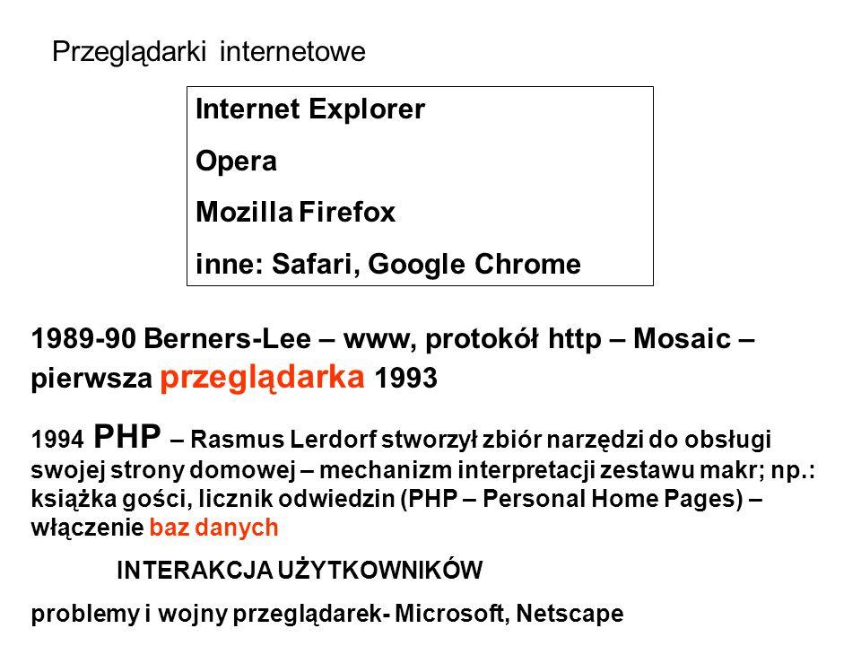 Przeglądarki internetowe Internet Explorer Opera Mozilla Firefox inne: Safari, Google Chrome 1989-90 Berners-Lee – www, protokół http – Mosaic – pierwsza przeglądarka 1993 1994 PHP – Rasmus Lerdorf stworzył zbiór narzędzi do obsługi swojej strony domowej – mechanizm interpretacji zestawu makr; np.: książka gości, licznik odwiedzin (PHP – Personal Home Pages) – włączenie baz danych INTERAKCJA UŻYTKOWNIKÓW problemy i wojny przeglądarek- Microsoft, Netscape