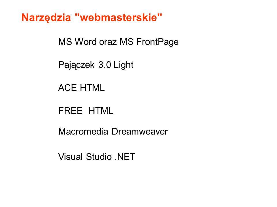 Narzędzia webmasterskie Pajączek 3.0 Light MS Word oraz MS FrontPage ACE HTML FREE HTML Macromedia Dreamweaver Visual Studio.NET