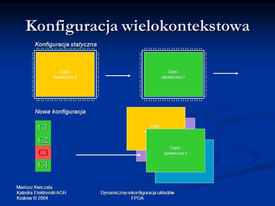 Mariusz Kwiczala Katedra Elektroniki AGH Kraków © 2004 Dynamiczna rekonfiguracja układów FPGA C1 Konfiguracja wielokontekstowa Część dynamiczna 1 Konf