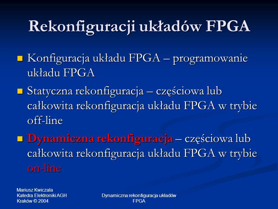 Mariusz Kwiczala Katedra Elektroniki AGH Kraków © 2004 Dynamiczna rekonfiguracja układów FPGA Podsumowanie Zalety Zalety Redukcja liczby układów Redukcja liczby układów Redukcja poboru mocy Redukcja poboru mocy Lepsze wykorzystanie dostępnych zasobów sprzętowych Lepsze wykorzystanie dostępnych zasobów sprzętowych Obecne wykorzystanie układów: Obecne wykorzystanie układów: Pentium - 55% Pentium - 55% Pentium II - 53% Pentium II - 53% RISC - 44% RISC - 44% Wady Wady Czas rekonfiguracji Czas rekonfiguracji System zarządzający rekonfiguracją System zarządzający rekonfiguracją