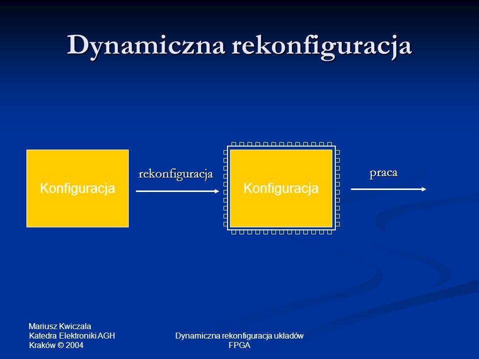 Mariusz Kwiczala Katedra Elektroniki AGH Kraków © 2004 Dynamiczna rekonfiguracja układów FPGA Rodzaje rekonfiguracji dynamicznej Jednokontekstowa - zmiana konfiguracji (tzw.