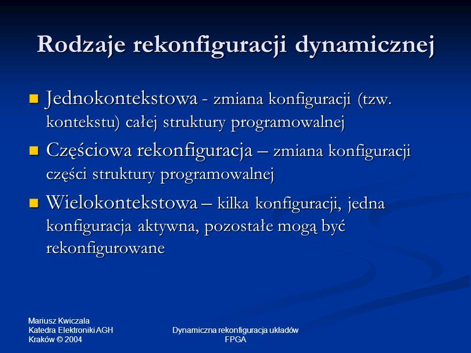 Mariusz Kwiczala Katedra Elektroniki AGH Kraków © 2004 Dynamiczna rekonfiguracja układów FPGA Rodzaje rekonfiguracji dynamicznej Jednokontekstowa - zm