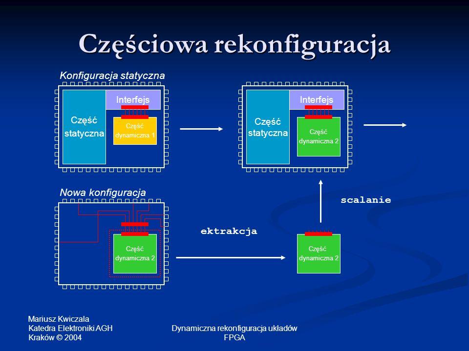 Mariusz Kwiczala Katedra Elektroniki AGH Kraków © 2004 Dynamiczna rekonfiguracja układów FPGA Częściowa rekonfiguracja Część statyczna Część dynamiczn