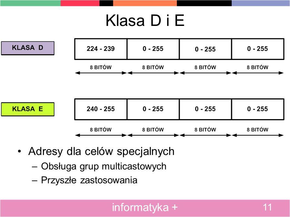 Klasa D i E Adresy dla celów specjalnych –Obsługa grup multicastowych –Przyszłe zastosowania 11 informatyka +