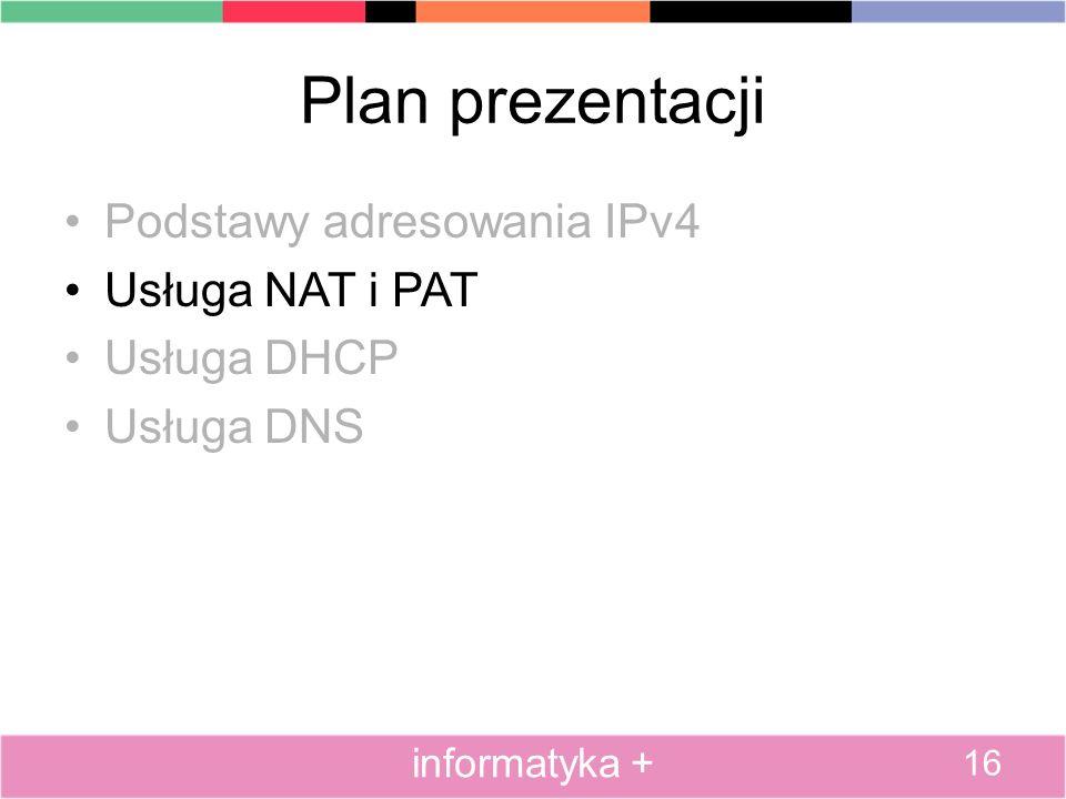 Plan prezentacji Podstawy adresowania IPv4 Usługa NAT i PAT Usługa DHCP Usługa DNS 16 informatyka +