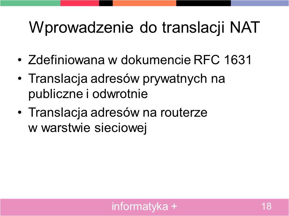 Wprowadzenie do translacji NAT Zdefiniowana w dokumencie RFC 1631 Translacja adresów prywatnych na publiczne i odwrotnie Translacja adresów na routerz