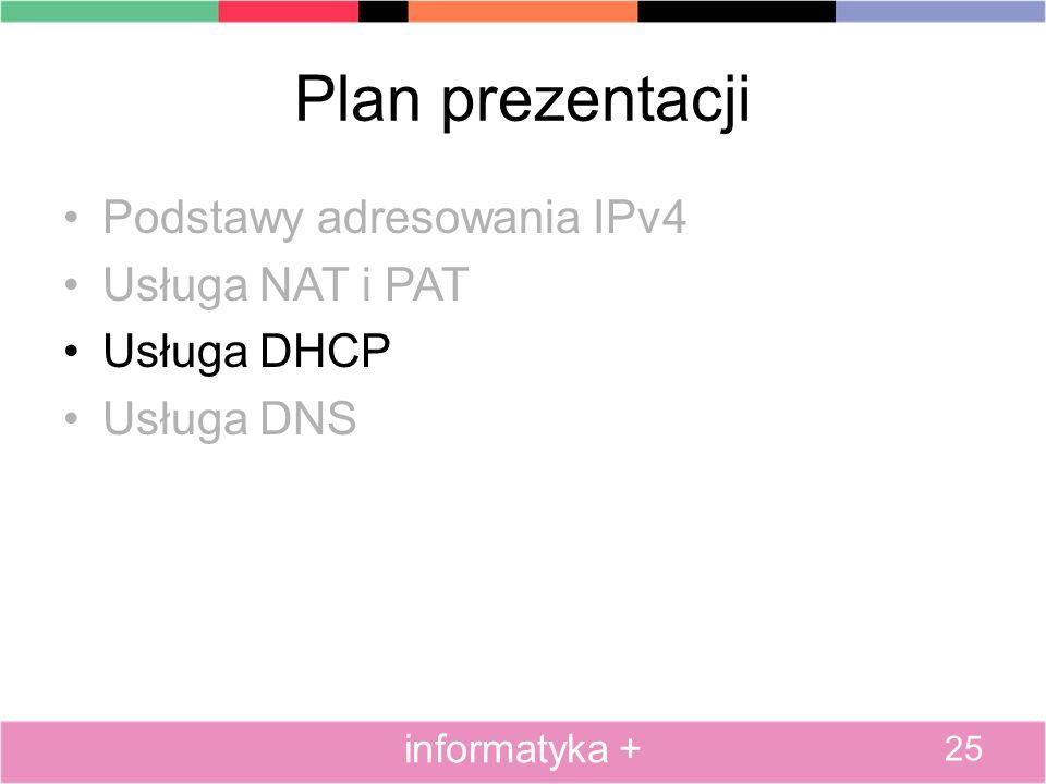 Plan prezentacji Podstawy adresowania IPv4 Usługa NAT i PAT Usługa DHCP Usługa DNS 25 informatyka +